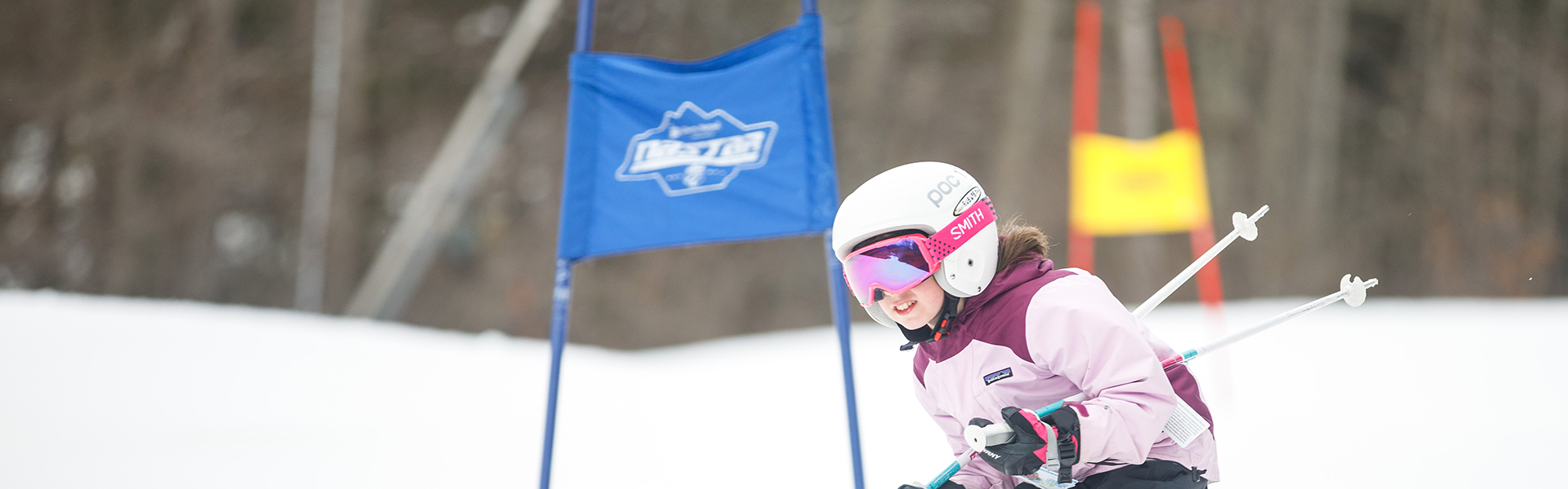 Girl skier in race team development program