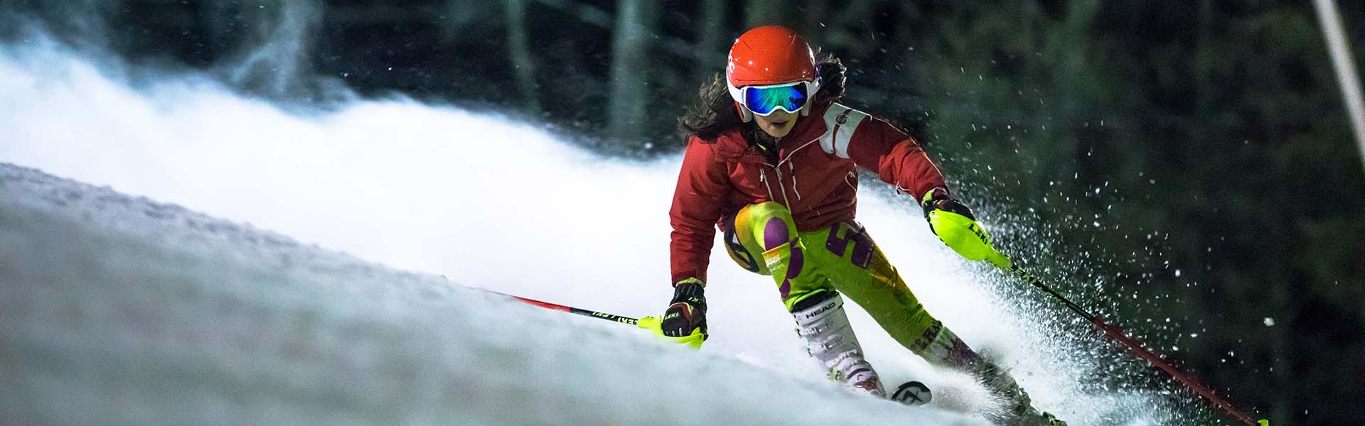 Girl skier on NASTAR race course