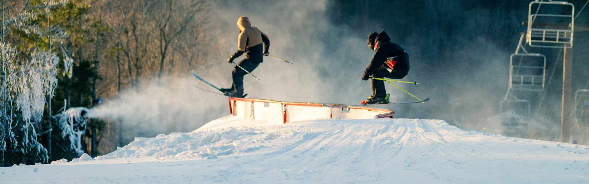 "Image of 2 skiers on ""S"" rail feature in terrain park"