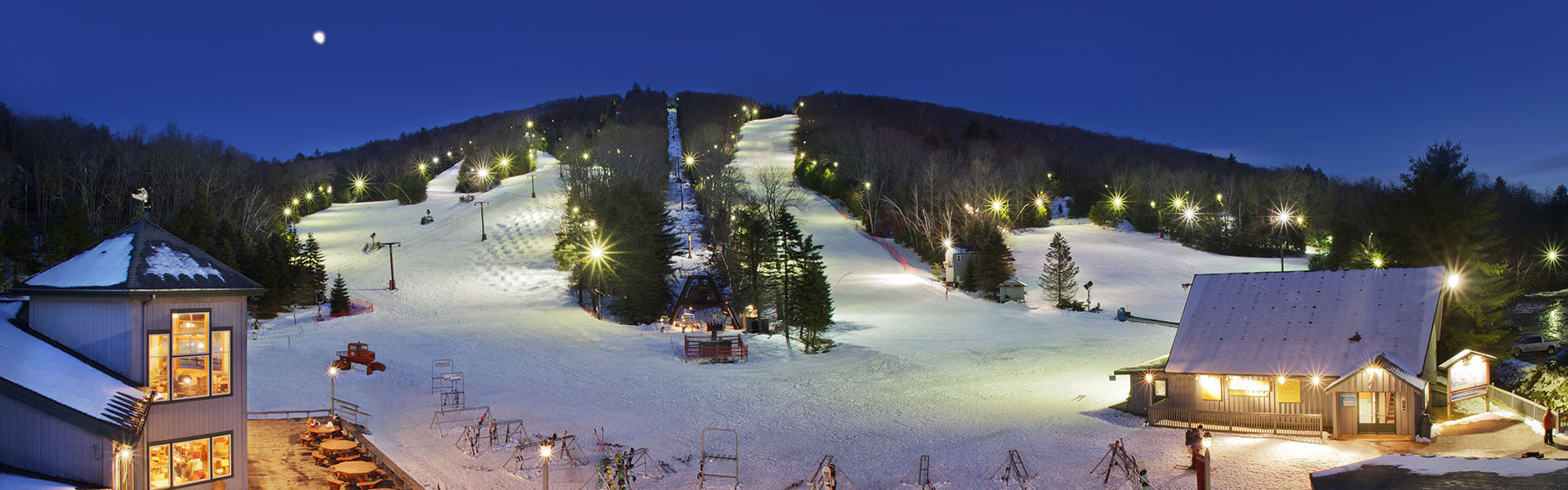 Aerial view of Ski Sundown mountain and trails at night