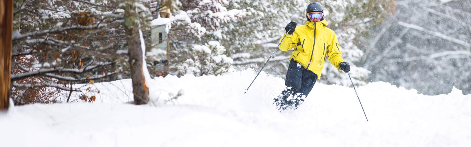 Skier on trail covered with fresh powder
