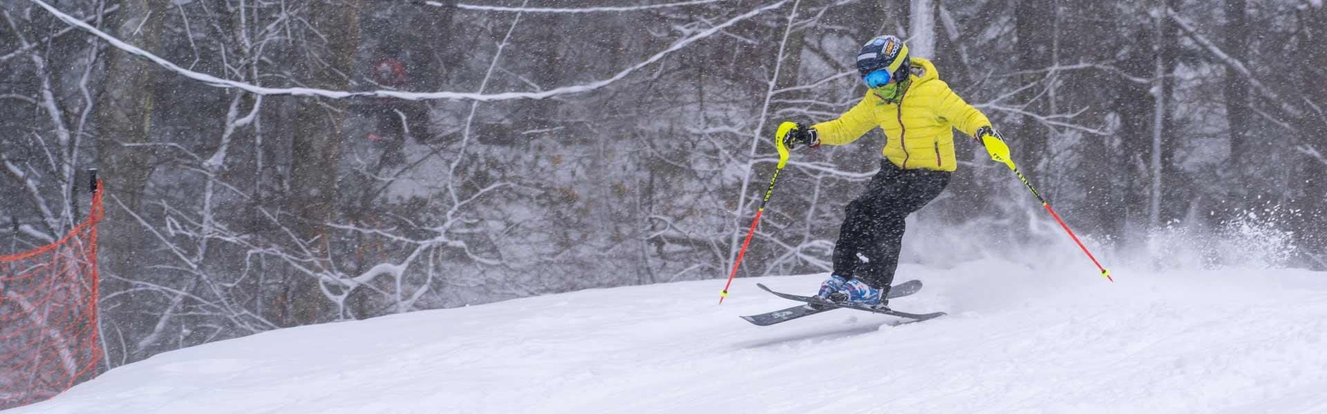 Racer on snowy trail